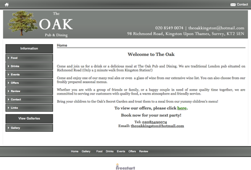 Screenshot of the old website